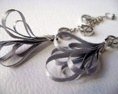 Long silk earrings Satin Grey - Captivates me Collection long grey silk and glass beads trendy earrings