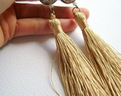 Golden fantasy - golden silk yarn and worked metal long vogue trendy earrings