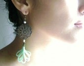 Lost in my world - Vintage inspired silk antique bronze pendant earrings