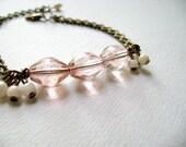 Charisma - delicate feminine vintage inspired soft pink bracelet
