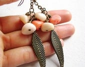 Indie Spirit  - salmon peach sand cream stones and antique bronze leaves earrings