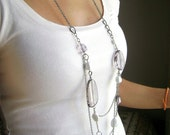 Feminize - white and grey multiple chain multi strand long necklace