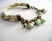 Natural essence - faux leather ivory sage green and cream beads  charm bracelet