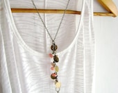 Simply Chic  -Body chain necklace ivory and soft peach stones trendy glam style
