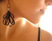 Black silk modern fashion original degisn earrings - Captivates Me - Seductive Black silk trendy own design earrings