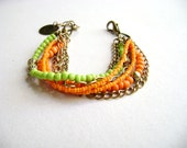 Paradise - bohemian stacking bracelet green orange multiple gold chain colorful boho chic hippie chic