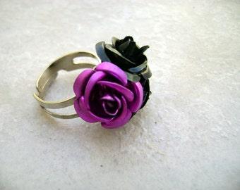 Boho Chic gift Romance - Fuchsia and Black Flowers adjustable Ring