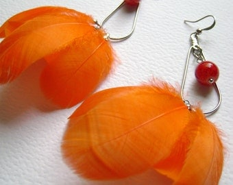 Bohemian style earrings  - Summer Time - orange feathers and glass bead earrings. Boho chic Gypsy style.
