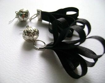 Black silk Dark Trend unique earrings  - Captivate Me trendy own design silk and metal  Seductive earrings