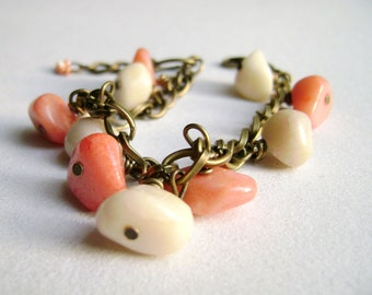 Boheman style bracelet - romantic - Luscious - feminine soft peach & ivory natural stones