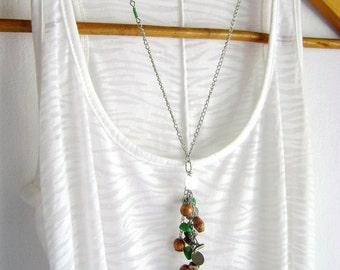 Body chain Bohemian style body  necklace Green stones natural wood beads Unique design - New Journey -