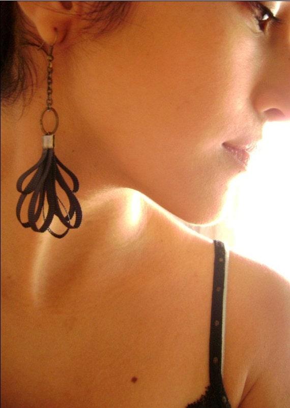 Captivates Me Collection - Seductive Black silk trendy own design earrings Unique jewelry designs