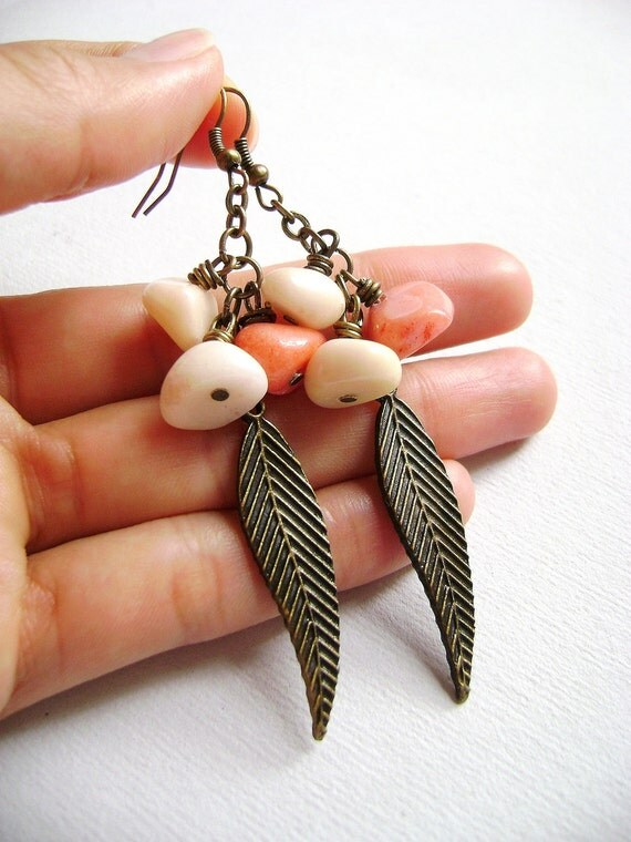 Indie Spirit  - salmon peach sand cream stones and antique bronze leaves earrings