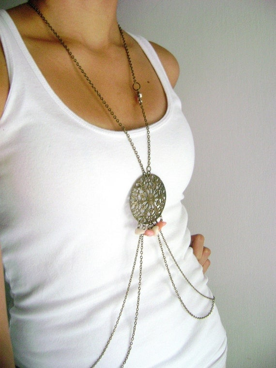 Glam Shield - peach ivory stones and antique bronze body chain trendy fashion accessory