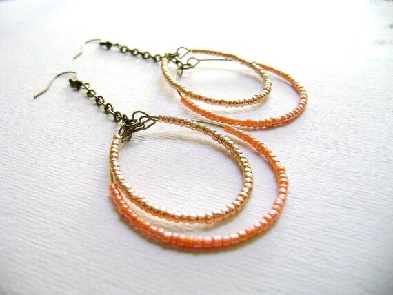 Sunrise - sparkle golden peach spring colors long earrings