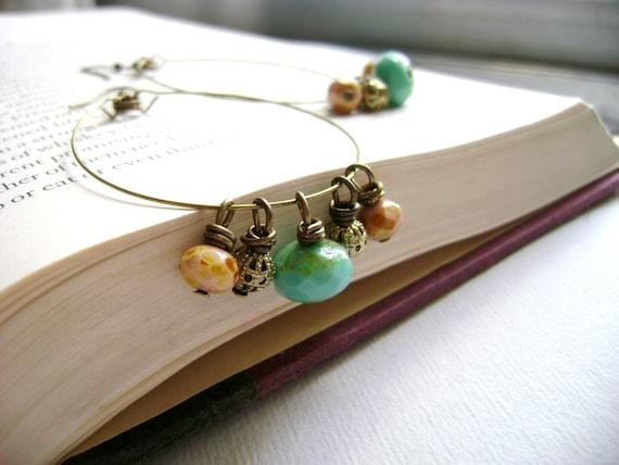 Smiley - turquoise rose golden dangle fairy long earrings