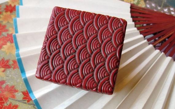 Trinket Box Cinnabar Red Asian Motif