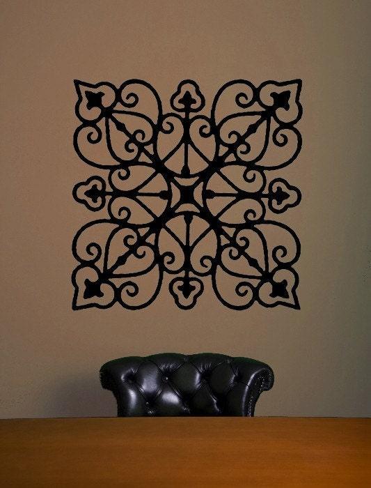 Rod Iron Wall Art Home Decor : Wrought iron look vinyl decal home decor wall art