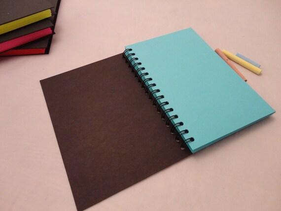 Bright chalkboard journal - (neon blue, spiral, half page)