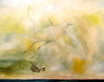 Surreal Flying Bird sky ocean landscape painting transportation Ship Sea  Print in earthy natural hues