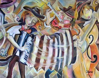 street Band painting print art accordion cello violin musical musician old time folk cubist abstract modern string music