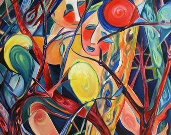 From the Treetops painting lovers trees birds bold colors modern contemporary art nature abstract