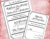Gothic Elegant Wedding Invitation Set - Reserved for Aubrey