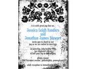 Vintage Gothic Wedding Invitation with Grunge Background - Printable JPG