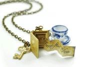 Alices Book. Vintage Wonderland Charm Necklace