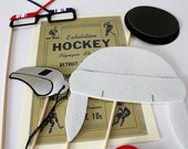 Hockey. Photo booth Props. Wedding Photo Props. Hockey Props. Photo Props. Mustache on a Stick. Props on a Stick - The Penalty Box Maro Kit