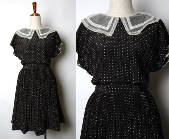 Retro love 80s Whit Polka Black Dress with Lace