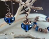 Blue Desire Earrings - Sapphire Blue and Copper Earrings