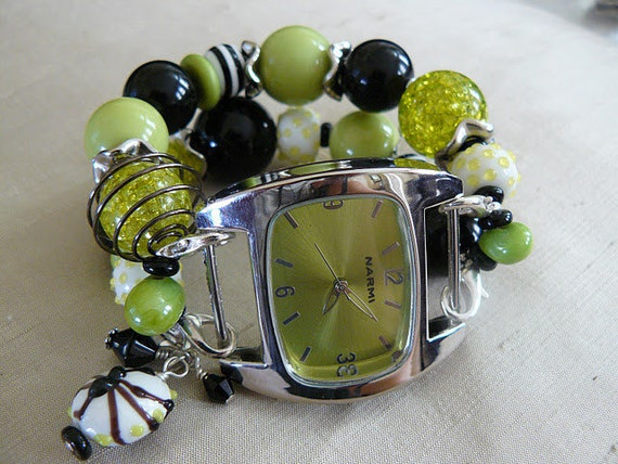 Spidey - Green and Black Interchangeable Watch Band with Charm