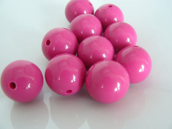 Hot Pink Acrylic Beads 18 mm