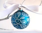 Turquoise Blue Paisley Ornament