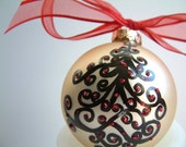 Swirled Tree with Red Sparkles Glass Ornament