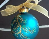 Elegant Gold Berry Branches on Teal Holiday Ornament