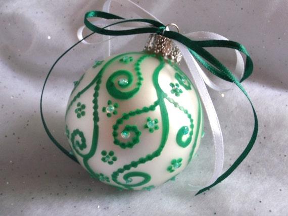 SALE Green Swirls White Christmas Ornament