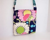 Navy Amy Butler Floral Cross Body Bag