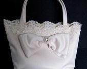 Beige/Ecru/Off-White Satin Wedding Handbag/Purse/Clutch