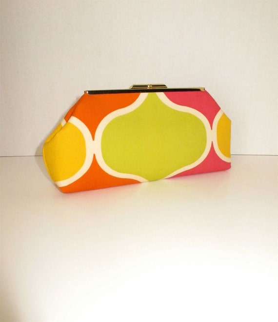 Pink, Orange, Lime and Yellow Geometric Clutch
