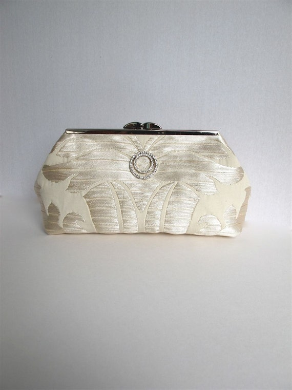 Shimmering off white, ivory, cream bride's clutch