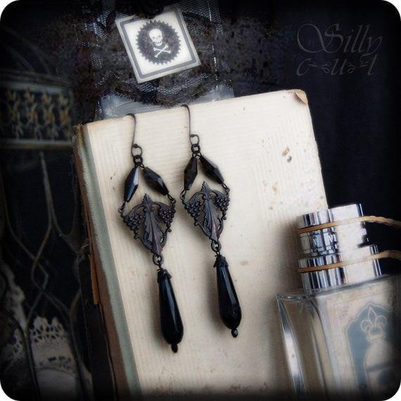 earrings - ART DECO - gothic, victorian mourning, art deco, art nouveau, dark romance, antique style, vintage style
