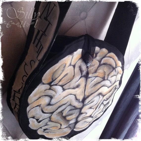 the BRAIN bag - artbag -  entirely HANDPAINTED - - - ooak, gothic, neovictorian, horror, gothabilly,