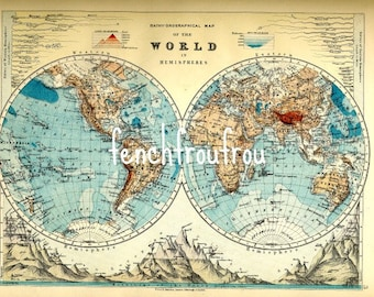 World map poster vintage etsy uk antique victorian map of the world lithograph art poster digital download gumiabroncs Images