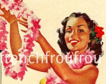 vintage hawaiian pin-up girl illustration hula girl DIGITAL DOWNLOAD
