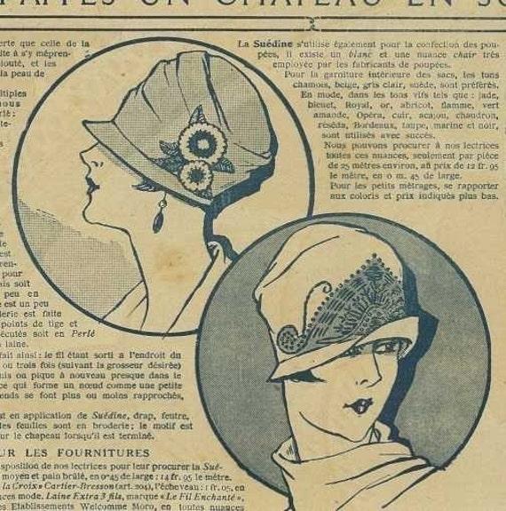 vintage french cloche hat pattern art deco flapper digital download