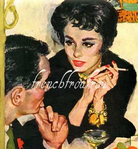 vintage pinup romance 1950 illustration serious talk