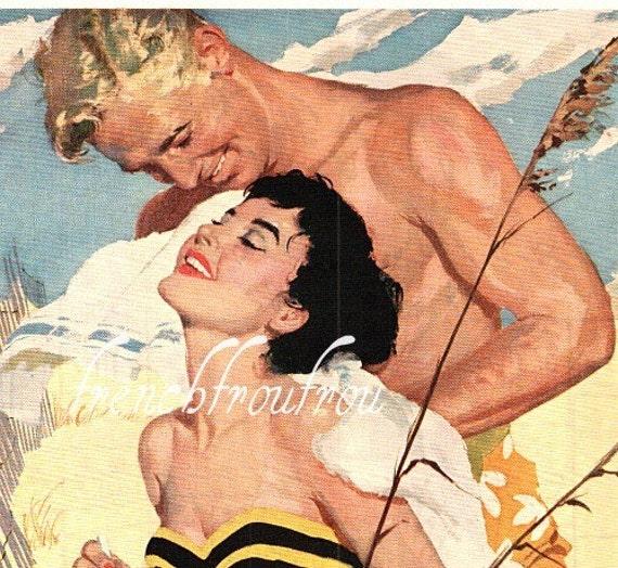 antique 1955 pinup advertisement  romance at the beach philip morris
