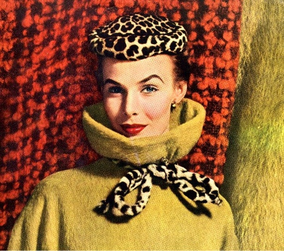 vintage  designer 1952 fashion advertisement camel leopard